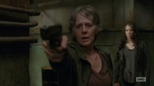 The Same Boat- Carol points her gun at Paula