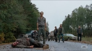 Last Day on Earth- Steven Ogg and Saviors wait on the road
