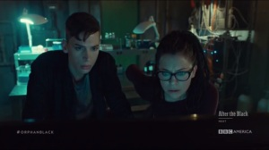 From Instinct to Rational Control- Felix and Cosima watch video on Birthright