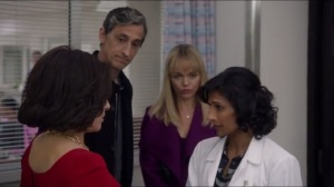 Mother- Dr. Mirpuri, played by Sarayu Blue, tells Selina about her mother's condition