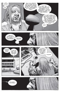The Walking Dead #154- Eugene learns that the person he's talking to is named Stephanie