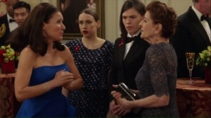 Congressional Ball- Selina introduces, Connie DiBenedetto, played by Concetta Tomei, to Catherine and Marjorie
