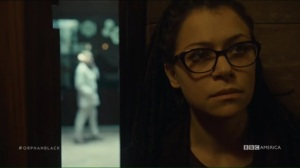 From Dancing Mice to Psychopaths- Cosima overhears Susan's conversation with Rachel
