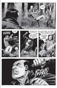 The Walking Dead #156- Negan spots two men taking a woman away to rape her
