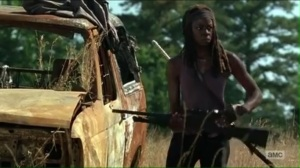 service-michonne-takes-her-spot-in-a-field
