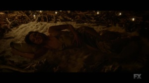 Chapter 18- Lenny on the bear skin rug, surrounded by bones- Legion FX Marvel