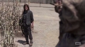 A New Beginning- Daryl about to kill a walker at the Sanctuary- The Walking Dead