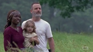 A New Beginning- Michonne, Judith, and Rick watch the birds