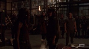 A New Beginning- Michonne shows Daryl a sign painted on the wall at the Sanctuary- The Walking Dead