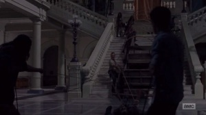 A New Beginning- Moving the wagon down the stairs- The Walking Dead