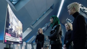 afterMath- Andy, Lorna, and Frost Sisters watch news on mutant uprising- The Gifted, Fox, X-Men