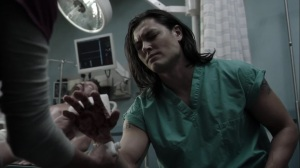 afterMath- John lets Caitlin work on his burned hand- The Gifted, Fox, X-Men
