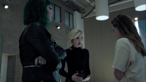 afterMath- Lorna and Frost Sister talk with Rebecca, played by Anjelica Bette Fellini- The Gifted, Fox, X-Men