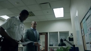 coMplications- Jace presents his findings to Sergeant Lopez, played by Robert McKay- The Gifted, Fox, X-Men