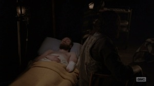 The Bridge- Aaron after getting his arm cut off- AMC, The Walking Dead