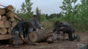 The Bridge- Aaron's arm trapped under a log- AMC, The Walking Dead