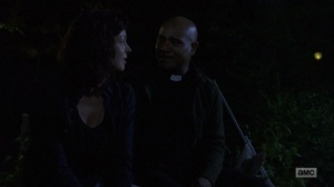 The Bridge- Anne and Gabriel have a moment while listening to frog mating calls- AMC, The Walking Dead