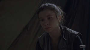 The Bridge- Enid decides that she has to cut off Aaron's arm- AMC, The Walking Dead