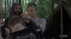 The Bridge- Ezekiel and Carol get Henry ready for the day- AMC, The Walking Dead
