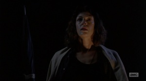 The Bridge- Jadis after the helicopter passes overhead- AMC, The Walking Dead