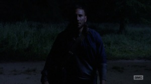 The Bridge- Justin surprised by someone in the woods- AMC, The Walking Dead