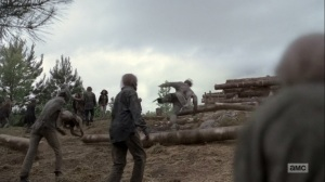 The Bridge- Logs roll down and crush walkers- AMC, The Walking Dead