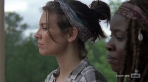 The Bridge- Maggie and Michonne discuss common laws- AMC, The Walking Dead