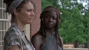 The Bridge- Maggie tells Michonne that Earl still owes a debt- AMC, The Walking Dead