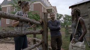 The Bridge- Maggie tells Michonne that the ethanol has not arrived at the Hilltop yet- AMC, The Walking Dead
