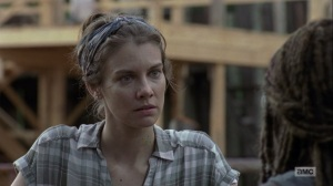 The Bridge- Maggie tells Michonne that the Hilltop will hold onto its surplus- AMC, The Walking Dead
