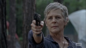 The Obliged- Carol aims her gun at Jed- AMC, The Walking Dead
