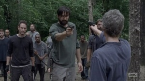 The Obliged- Jed and Saviors return to camp with weapons- AMC, The Walking Dead