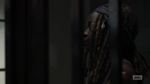 The Obliged- Michonne brings Negan a sandwich- AMC, The Walking Dead