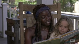 The Obliged- Michonne reads a story to Judith- AMC, The Walking Dead