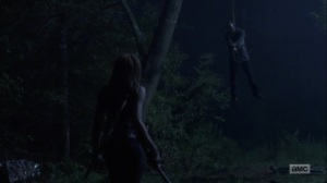 The Obliged- Michonne spots a hanging walker- AMC, The Walking Dead
