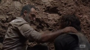 The Obliged- Rick and Daryl work together to escape the plot hole- AMC, The Walking Dead