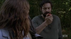 Warning Signs- Jed, played by Rhys Coiro, eats a tomato- AMC, The Walking Dead