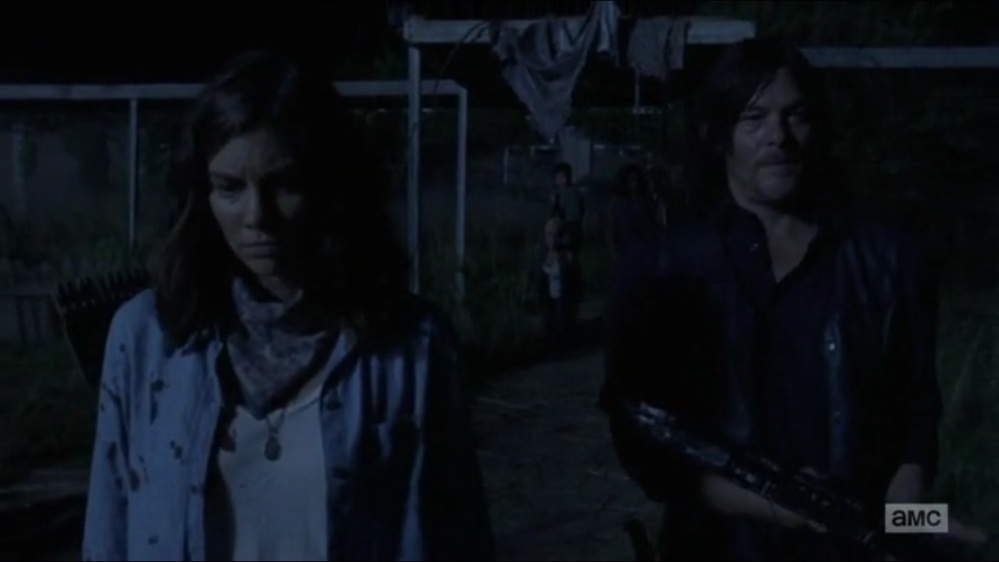 Warning Signs- Maggie and Daryl walk away as Arat is killed- AMC, The Walking Dead