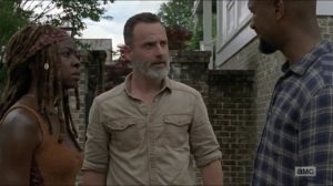 Warning Signs- Rick and Michonne are informed that a Savior was killed- AMC, The Walking Dead
