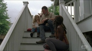 Warning Signs- Rick and Michonne read Judith a story- AMC, The Walking Dead
