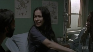 Evolution- A frantic Rosita awakens with Siddiq and Michonne at her side- The Walking Dead, AMC