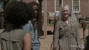 Evolution- Carol greets Connie, Kelly, Magna, and Yumiko- The Walking Dead, AMC