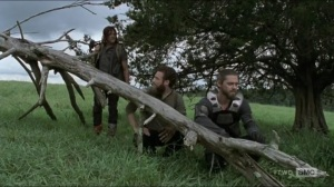 Evolution- Daryl, Aaron, and Jesus observe walker herd- The Walking Dead, AMC