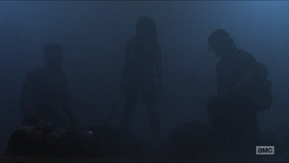 Evolution- Daryl, Michonne, and Aaron stand over Whisperer- The Walking Dead, AMC