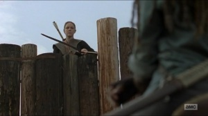 Evolution- Dianne greets Michonne at the Hilltop gate- The Walking Dead, AMC