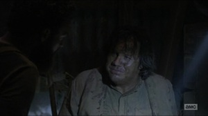 Evolution- Eugene tells Aaron, Jesus, and Daryl that he and Rosita heard the walkers talking- The Walking Dead, AMC