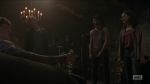 Evolution- Henry drinks with Gage, Addy, and Rodney- The Walking Dead, AMC