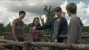 Evolution- Henry meets Gage, played by Jackson Pace, Addy, played by Kelley Mack, and Rodney, played by Joe Ando-Hirsh- The Walking Dead, AMC