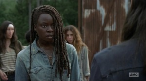 Evolution- Michonne learns that Aaron was at the Hilltop- The Walking Dead, AMC