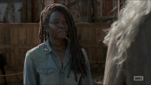 Evolution- Michonne talks with Carol about Judith and RJ- The Walking Dead, AMC